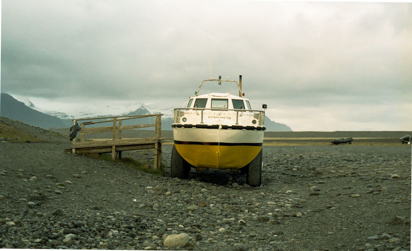 Amphibian boat near Jökulsárlón, Iceland Film Film Is Not Dead Glacier Lake Iceland Amphibian Boat Barren Landscape Boat Iceland_collection Illuminated Low Tide Nautical Vessel Tourist Activity