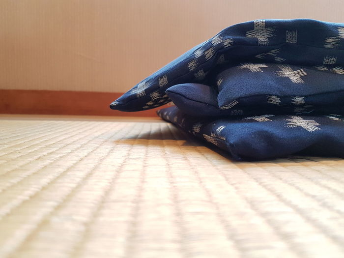 Indoors  Close-up Day Tatami Futon Zabuton Japanese Culture Flooring Pillow Seat Blue Color Indoors  Interior Style Pattern Japanese Style Room Decor Japanese Restaurant Floor Mat Culture Of Japan Heritage Traditional Culture Tradition No People Simple Beauty Minimalism