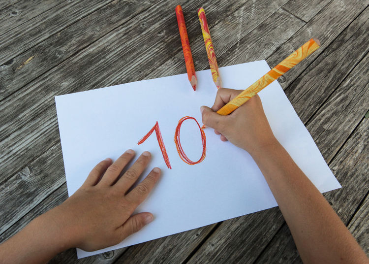 10 Happy Birthday Activity Art And Craft Child Creativity Drawing - Activity Drawing - Art Product Finger Hand High Angle View Human Body Part Human Hand Paper Table Ten Wood - Material