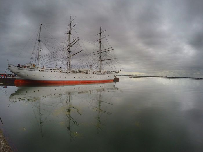 Water Reflection Cloud - Sky Sky Nature No People Outdoors Beauty In Nature Majestic Cloudy Ship Ships⚓️⛵️🚢Bird Close-up Ship At Dock Habour Habour View Day Lake GorchFock1 Gorch Fock Park Strelasund Stralsund  Full Frame
