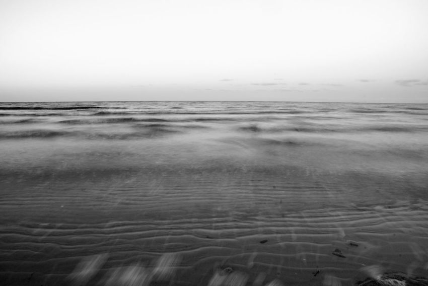 Atmosphere Beach Beauty In Nature Black And White Blackandwhite Bw_collection Distant Horizon Over Water Monochrome Outdoors Sea Seaside Shore Tranquil Scene Visual Rhythms Wave Landscapes With WhiteWall