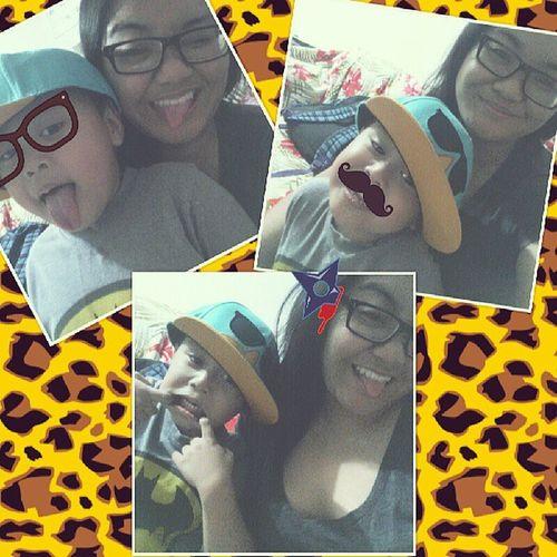 He wanted silly pictures. Lol. Getsilly BabyCousin JaidenJames Thursdaze chillin likeavillain ilovecheetahprint kbye