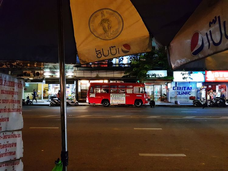 Bus Bangkok Thailand. Thailand Night Luminous Sidewalk Thonglor Transportation Car Text Road Sign Architecture