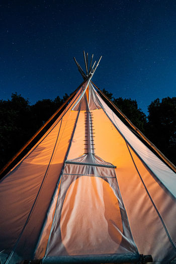 Teepee / glamping tent under night sky with stars