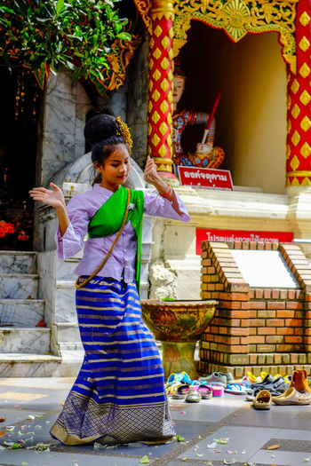 Chiang Mai, Thailand. Chiang Mai | Thailand Dance Dancing Thailand Architecture Childhood Day Fujifilm Fujifilm_xseries Full Length One Person Outdoors People Real People Smiling Traditional Young Adult Young Women