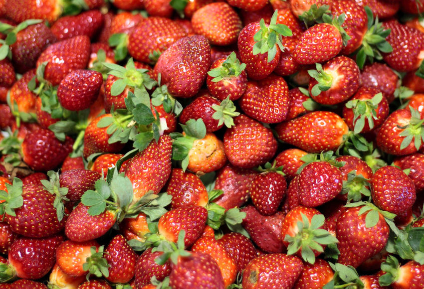 Fine ripe strawberries at market stall Agriculture Food Food Photography Fruit Flavored Fruit Growing Healthy Eating Market Stall Ripe Fruit Strawberries Strawberry StrawBerry Flavored Strawberry Season Vitamins