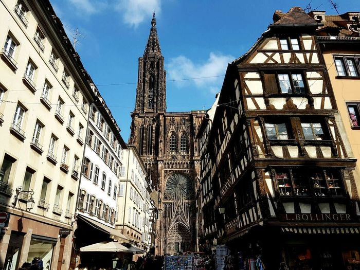Architecture Blue Sky Building Exterior Built Structure Cathedral Cathédrale De Strasbourg City City Colombages Cultures Day Europe France Low Angle View No People Outdoors Sky Strasbourg Timber Framing Travel Destinations
