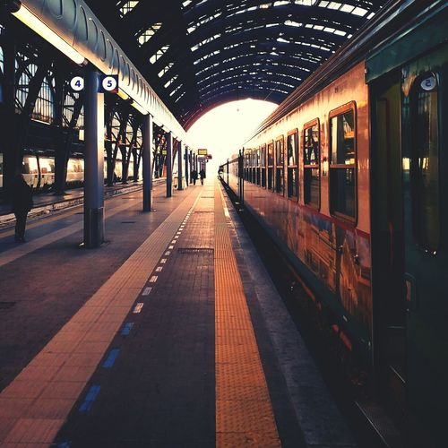 Train Carriage On Empty Railway Platform