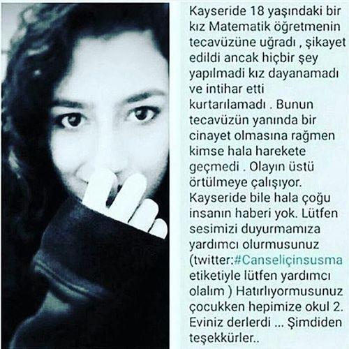 Yazamıyorum. Hiçbirşey yazamıyorum. @dilaraaybenz @huseyinnisa Canselicinadalet Canselicinsusmaa Kayseri Ogretmen Kadın Kadincinayetlerineson Kadincinayetleri Tecavüzesessizkalma Tecavüz Hayvanogluhayvan OC