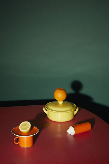High angle view of candles on table