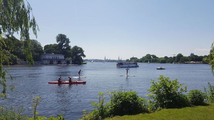 Barge Hamburg Alster City Outdoors Summer Cityscape Clear Sky Nature Beauty In Nature Lake Standuppaddle Standup Paddleboarding