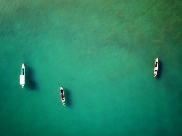 Adventure High Angle View Green Color Green Background Aerial View Drone  Boat