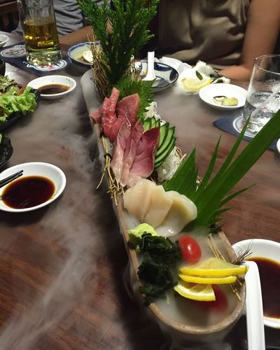 Artfood Sushi Dinner Presentation Food Sushi Time Favourite Hungry Appetizing  Art Food Preparation Japanese Food Fish Dry Ice Yummy