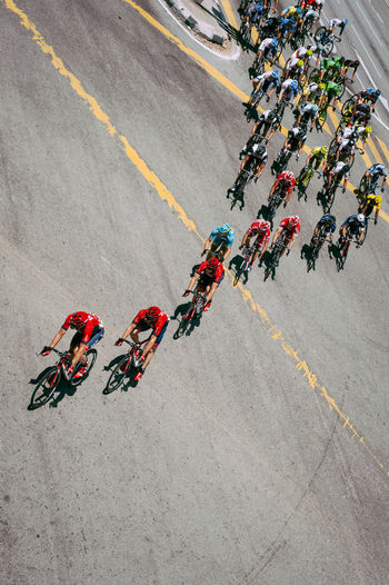 High angle view of tour de langkawi on street