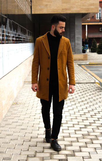 Warm Clothing City Cold Temperature Men Full Length Winter Portrait Standing Handsome Young Men Fur Coat Coat Winter Coat Trench Coat