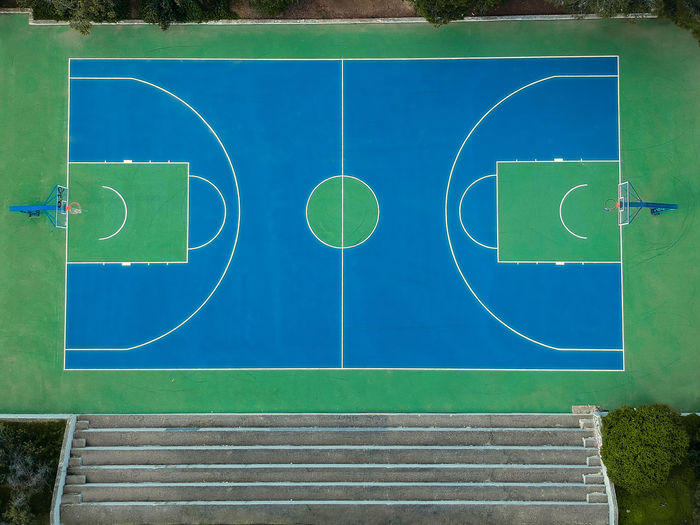 Aerial view of basketball court