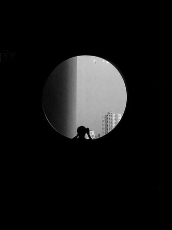 a man in front of the window. Circle One Person Real People Built Structure Architecture Silhouette Full Length Indoors  People