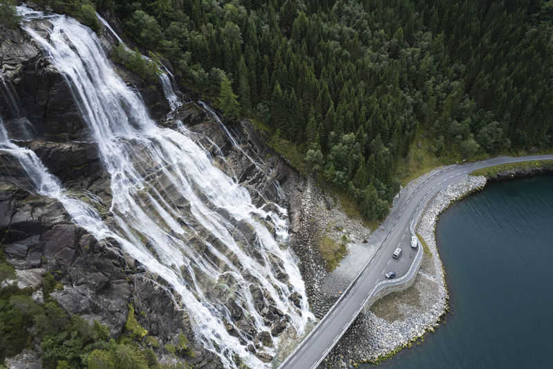Norwegian vestland scenic roadside furebergfossen waterfalls aerial photo.