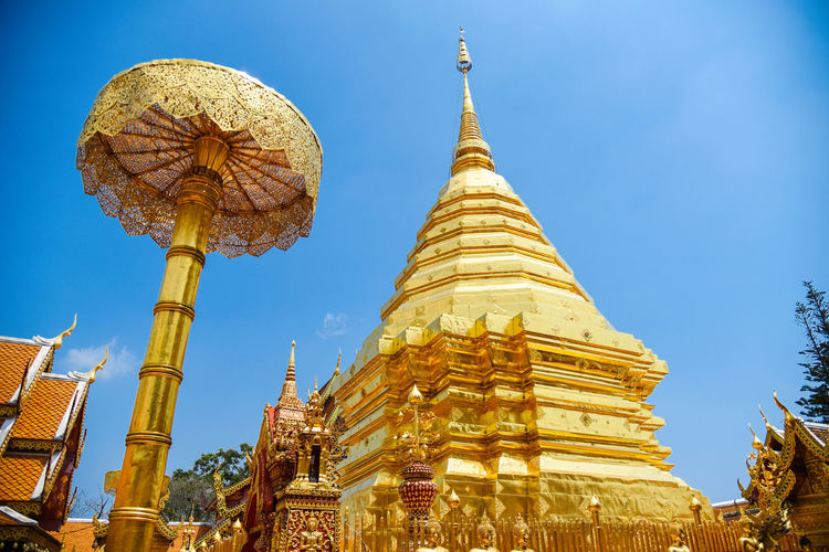 Low angle view of traditional building against sky,doi suthep,