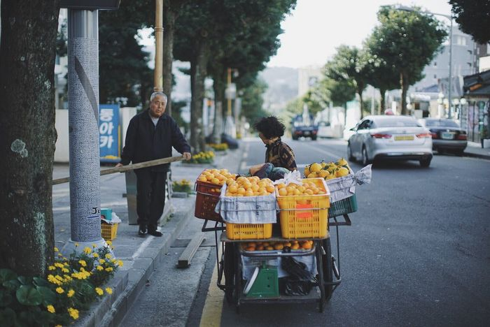 Chance Encounters JEJU ISLAND  Old Town Old Couple Street Freshness Street Vendors Cute Couple Korea Street Photography Travel Destination Morning Coffee Morning Walk Cycling Around Beautiful Place