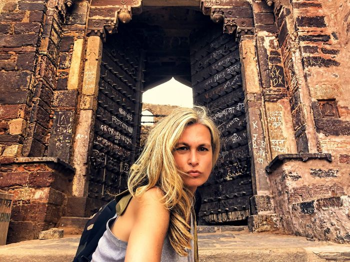 Adventure Castle Temple Gate Welcome Gate India One Person Adult One Woman Only Architecture Adults Only Young Adult Travel Destinations Built Structure History Beauty Travel People Old Ruin Portrait Headshot