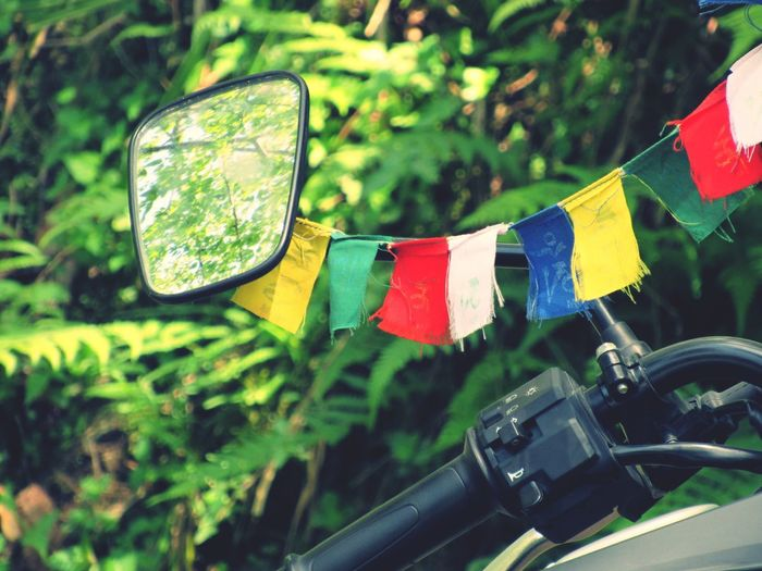 Close-Up Of Bunting Flags On Motorcycle