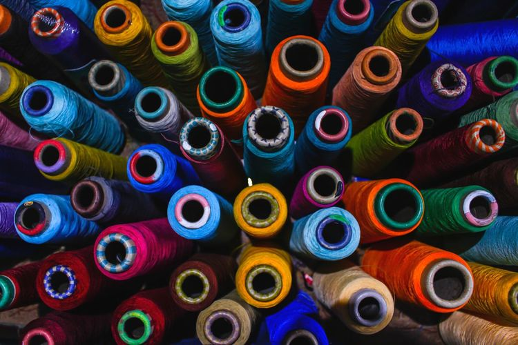 Colorful sewing thread overlock