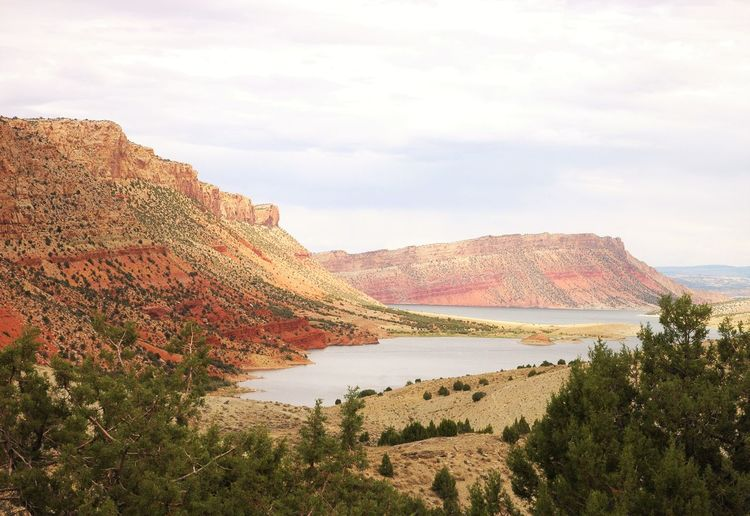 Rock Formation At Flaming Gorge National Recreation Area Against Sky