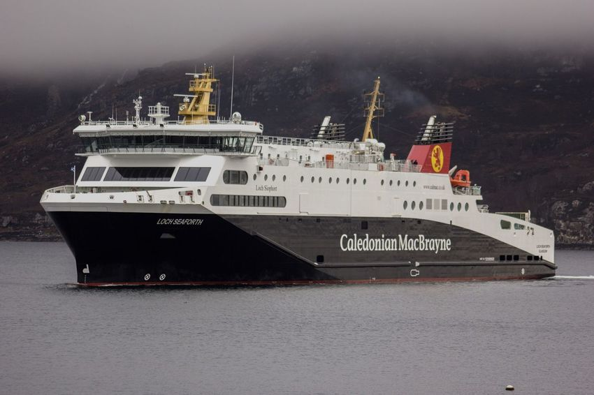 The ferry MV Loch Seaforth arrives in Ullapool, Scotland Shipping  Transportation Travel Na H-eileanan Siar Scotland Highlands Western Isles Outer Hebrides Stornoway Ullapool Loch Seaforth Caledonian Macbrayne Calmac Ro-ro Ferry Roro Car Ferry Ferry Sea Loch  Mist Day No People