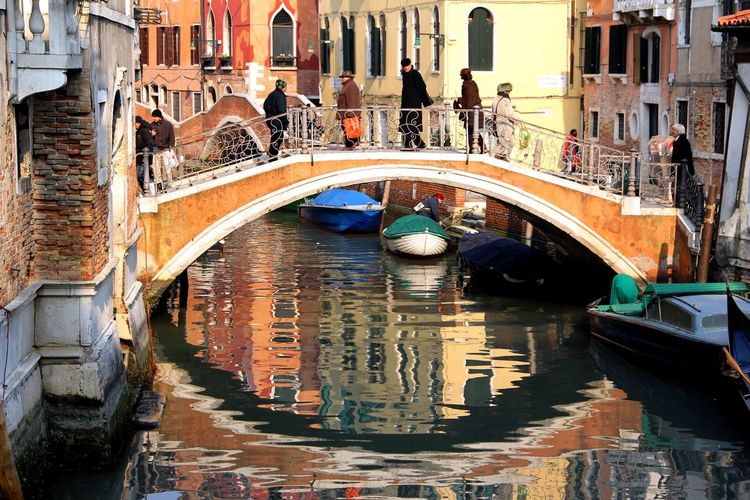 Venetian Bridge Bridge - Man Made Structure Building Exterior Canal Moored Real People Reflections ☀ Travel Destinations Venetian Bridge Water