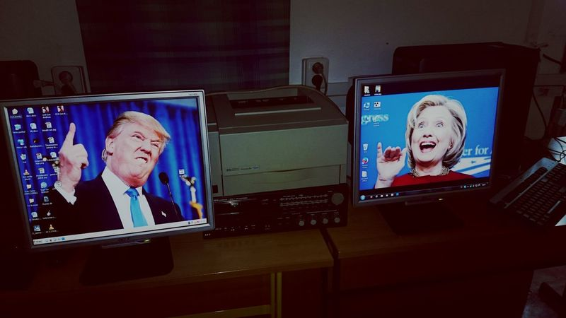 Politics Hillary Trump Trump Tower Imwithher Politicans Computer School Monitor PC Schoolbored Indoors  Clinton Election Awkward USA Uselection