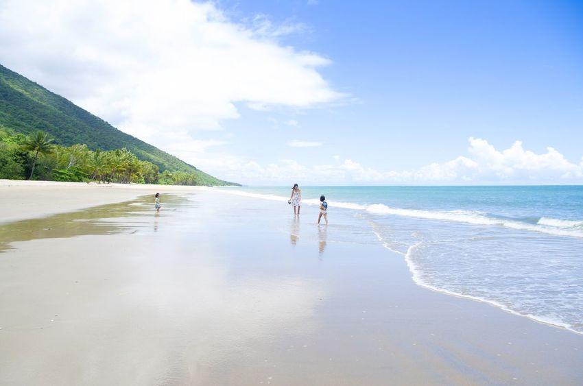 Beach and Reflection Sand Reflection Water Sea Full Length Beach Women Sand Blue