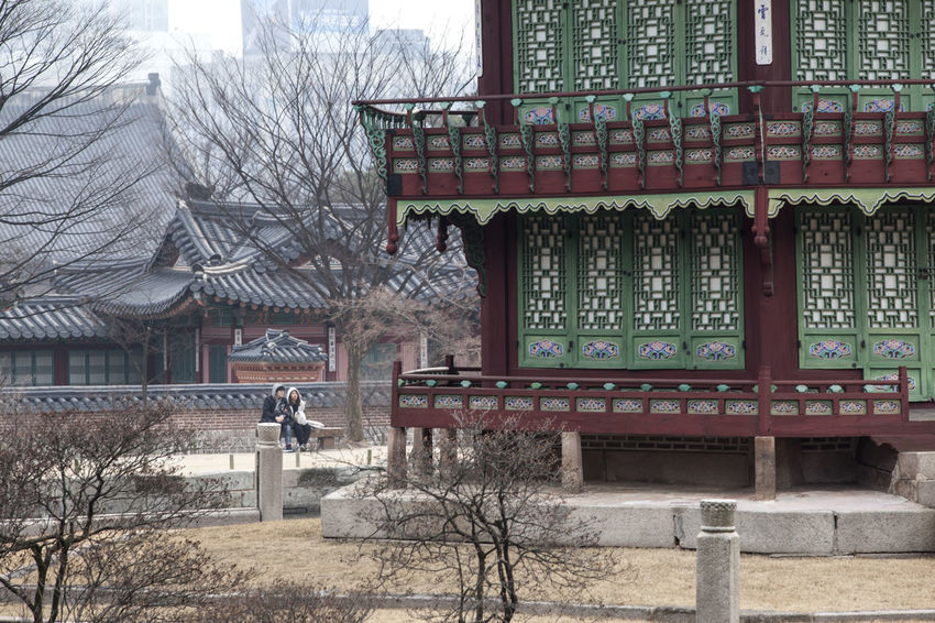 Architecture Bare Tree Building Building Exterior Built Structure City City Life Communication Day Exterior Gyungbok Palace Historic Place House Non-western Script Outdoors Palace Residential Building Residential Structure Roof Text Tree Western Script Window