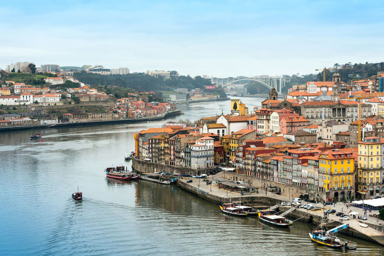 High angle view of porto waterfront