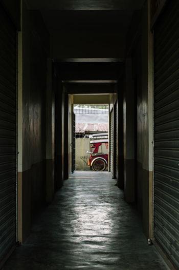 Narrow corridor along walls