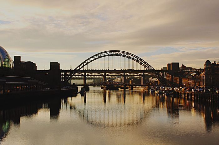 Newcastle Tynebridge  Reflection Sky Water Rivertyne Bridge - Man Made Structure Architecture Cloud - Sky Built Structure City River Outdoors Bridge Connection No People Nature Day Wintersun
