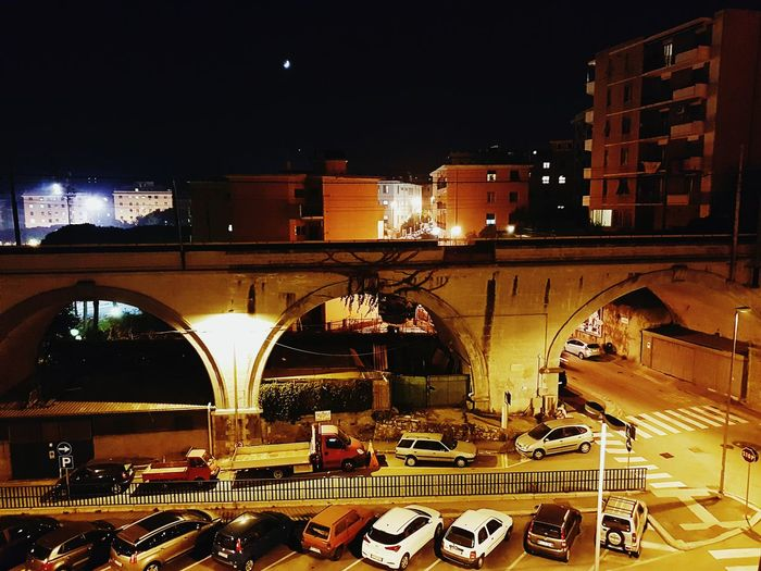 Light And Reflection Genova, Italy Genova Genoa Sturla City Illuminated Night Architecture Travel Destinations Built Structure Bridge - Man Made Structure No People Outdoors Sky City Life City Lights At Night