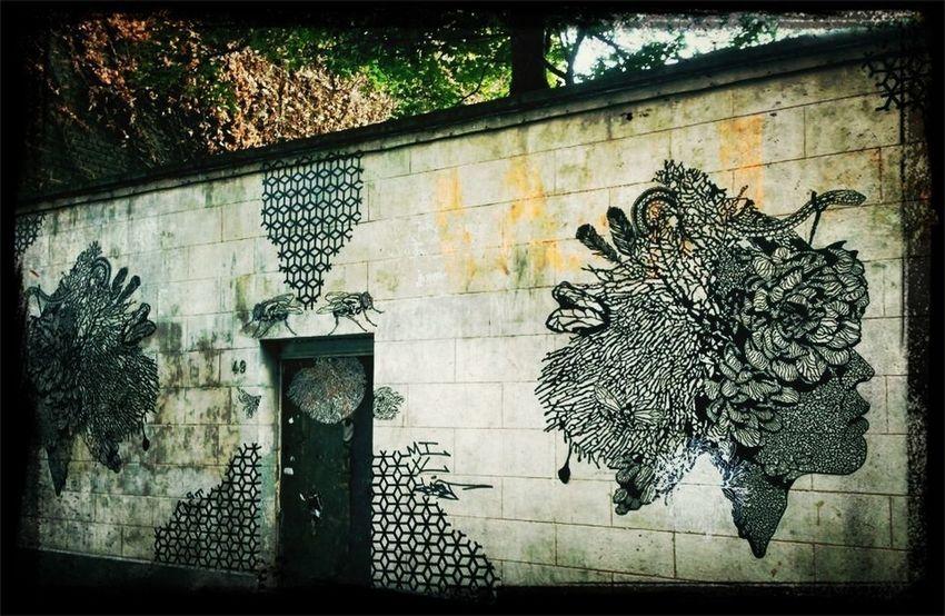Beautiful graffito/art work near the house Audrey Hepburn was born, in Brussels, Belgium