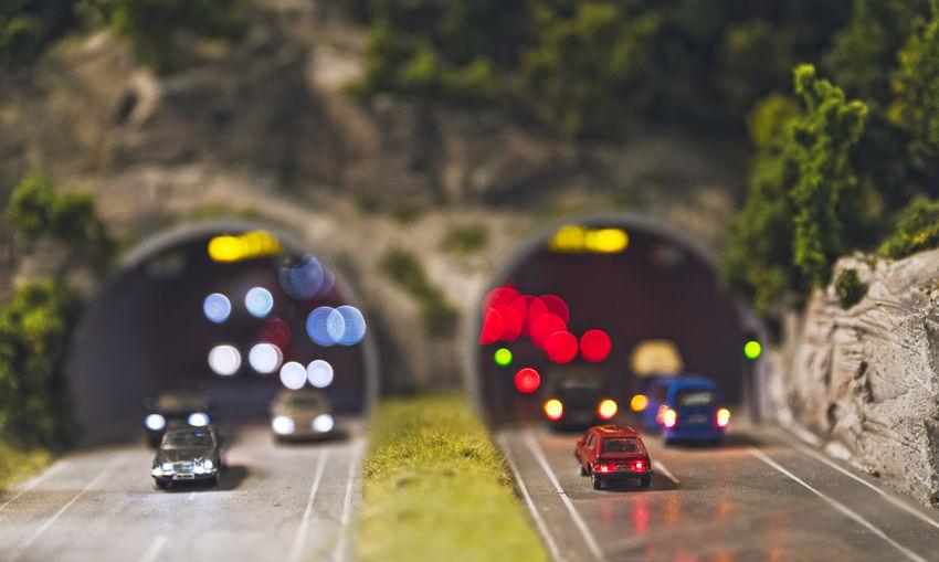 Close-up of illuminated car on street