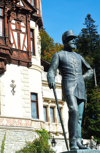 Statues Sculpture Representation Statue Human Representation Male Likeness Architecture Built Structure Low Angle View Day Building Exterior Outdoors No People Neo Renaissance The Past Travel Destinations Travel Photography Facades EyeEm Gallery Eyem Architecture Man Made Structure Sinaia Peles Castle