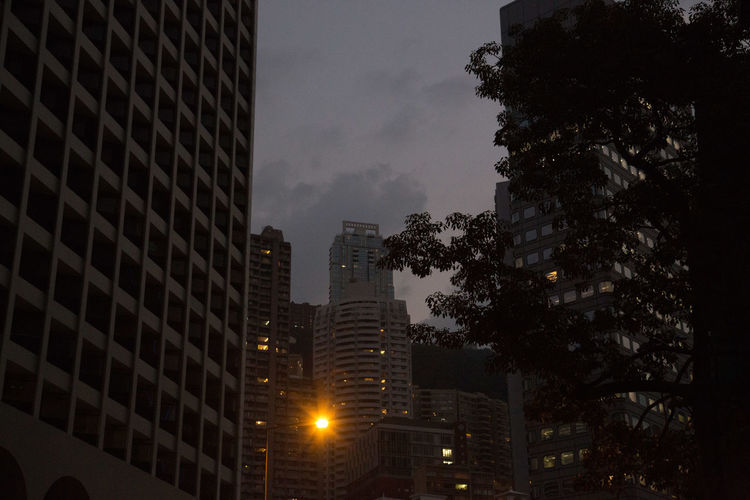 Hong Kong Streets Hong Kong Hong Kong City Apartment Architecture Building Building Exterior Built Structure City Cityscape Dusk Illuminated Light Low Angle View Modern Nature Night No People Office Building Exterior Outdoors Plant Sky Skyscraper Streetphotography Tall - High Tree