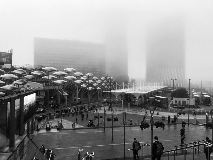 London Lifestyle London Architecture Fog Built Structure City Outdoors Black And White Streetphotography Outdoor Photography East London Stratford Commuting Building Exterior Weather Autumn People Architecture Work Traveling Transportation Bus Train Train Station Shopping Mall