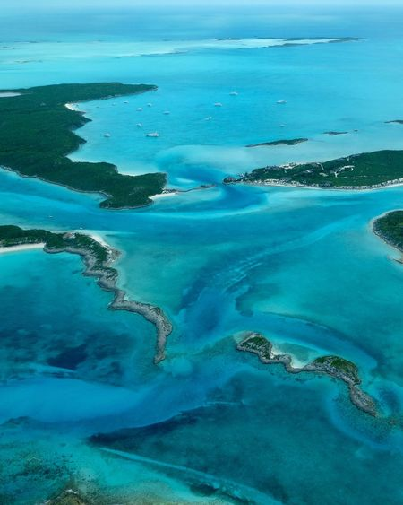 Aerial view of staniel cay
