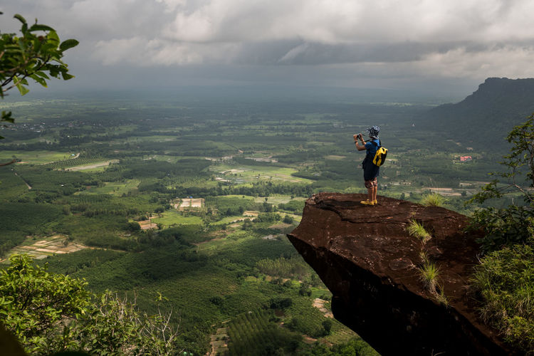 Viewpoint of Phu Lang Ka Nakhonphanom Scenics - Nature Beauty In Nature Mountain Leisure Activity Adventure Tranquil Scene Sky Environment Nature Real People Cloud - Sky Tranquility Standing Non-urban Scene Activity Landscape Men Day Hiking Lifestyles Outdoors Mountain Range Looking At View