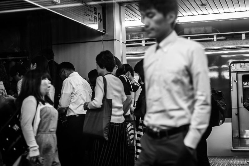 Group Of People Real People Public Transportation Rail Transportation Men Transportation Train Railroad Station Train - Vehicle Lifestyles People Motion Mode Of Transportation Leisure Activity Commuter Group Adult Women Standing Indoors  EyeEmNewHere