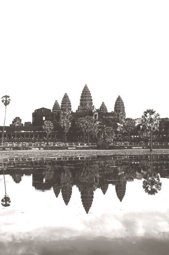 Cambodia Temple World Heritage Culture Reflection Lake Symmetry Water Sky Reflecting Pool Outdoors