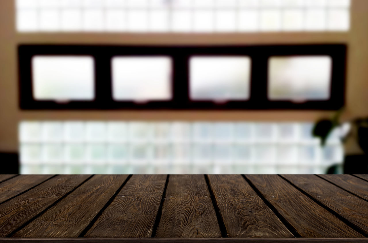 wood - material, indoors, focus on foreground, window, table, pattern, close-up, day, wood, no people, flooring, architecture, empty, built structure, seat, communication, technology, blank