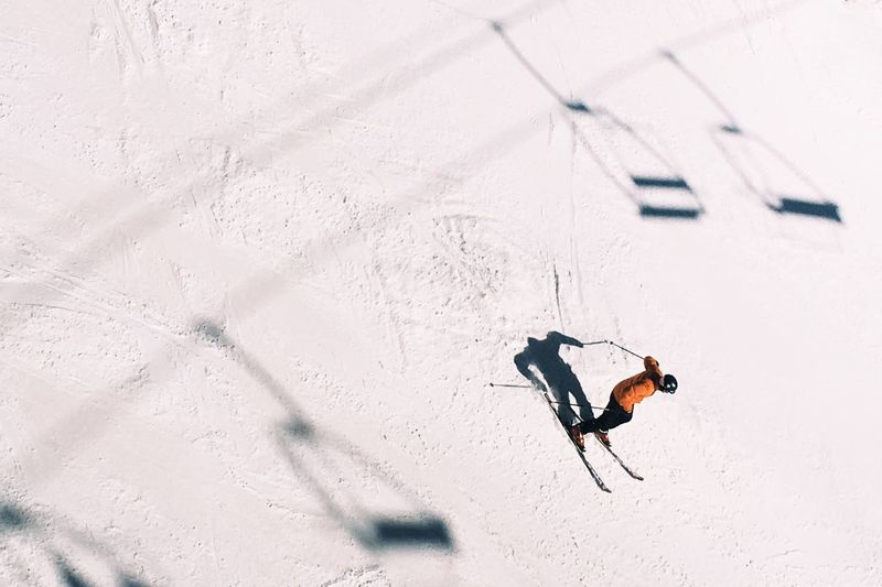 High angle view of skier