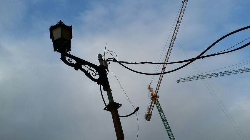 Crane Construction Crane Sky And City Construction Sites Clouds And Sky Clouds Streetlight Deceptively Simple