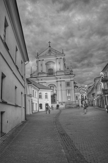 Streetphotography Streetphoto_bw Black And White Collection  Chirch Old Town People Lithuania Historical Building Eye4photography  Sky And Clouds
